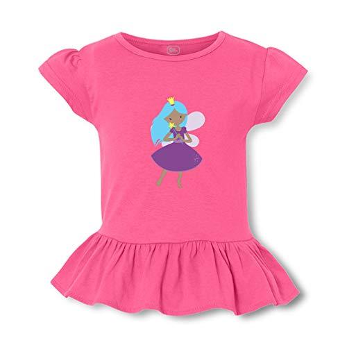 Fairy Queen Purple Dress B Short Sleeve Toddler Cotton Girly T-Shirt Tee - Hot Pink, 5/6T -