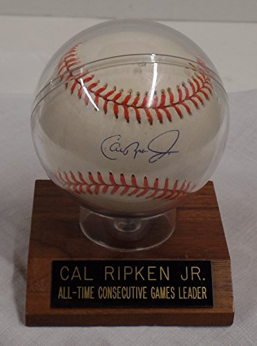 AUTOGRAPHED CAL RIPKEN, JR. AMERICAN LEAGUE BASEBALL.INCLUDES COA FROM WESTERN COLORADO FIELD HOUSE - INCLUDES WOODEN BALL DISPLAY AS SEEN IN PHOTOS. (BALTIMORE ORIOLES) FREE SHIPPING