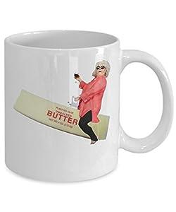 Paula Deen Riding Butter Coffee Mug Cup (White) 11oz Funny Paula Deen Cooking Meme Gifts Merchandise Accessories Shirt Sticker Pin Decal Artwork Deco