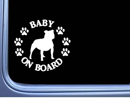 "Baby on Board Staffy Bull L487 Terrier 6"" Sticker decal"