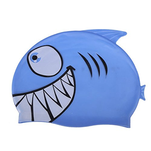 Children Cartoon Swimming Cap Silicon Diving Waterproof Cartoon Swimming Cap Shark Blue