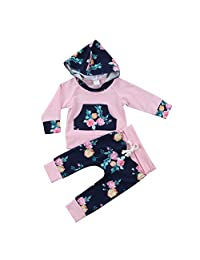 Newborn Baby Girl Floral Hooded Tops Long Pants 2pcs Outfit Clothes Set