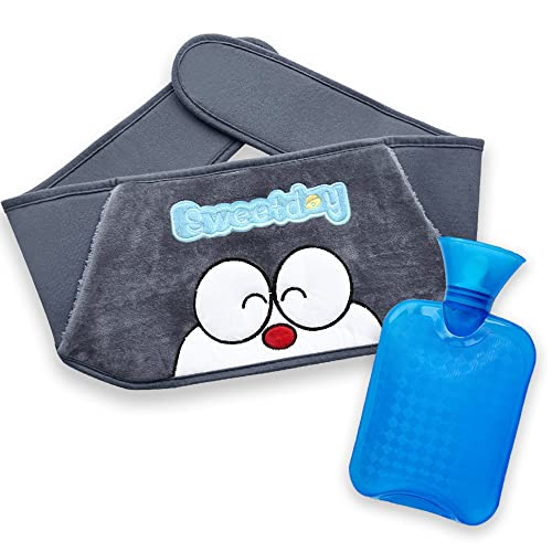 DicDok Hot Water Bottle 900ML Transparent Hot Water Bag Warm Water Bag with Soft Plush Waistband Cover for Menstrual Cramps Pain Relief Hot Cold Therapy