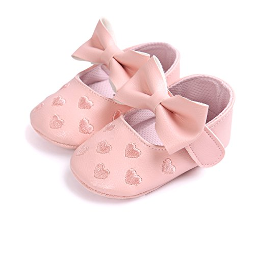 Itaar Baby Girl Moccasins Bow PU Leather Heart Embroidered Soft Soled Shoes for Infants Toddlers - Image 3