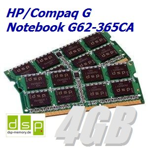 Memoria RAM de 4 GB para portátil HP/Compaq G G62 - 365 CA (Juego ...