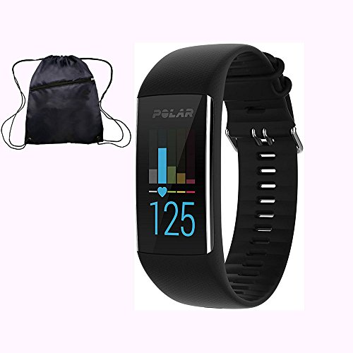 Polar A370 Waterproof GPS Fitness Tracker with Wrist Based HR - Black / Medium-Large w/ Cinch Travel Bag by Polar