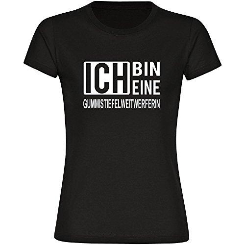 T-Shirt ich bin eine Gummistiefelweitwerferin schwarz Damen Gr. S bis 2XL