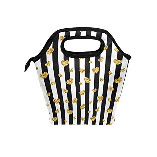 Naanle Gold Glitter Heart Insulated Zipper Lunch Bag Cooler Tote Bag for Adult Teens Kids Girls Boys Men Women, Black and White Stripe Lunch Boxes Lunchboxes Meal Prep Handbag for School Office -