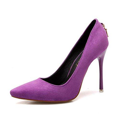 Femmes D Word avec Superficielle Danse Des Talons purple Daim Pointue Buckle De En Hauts Metal Chaussures Bouche Des qwxwEIg