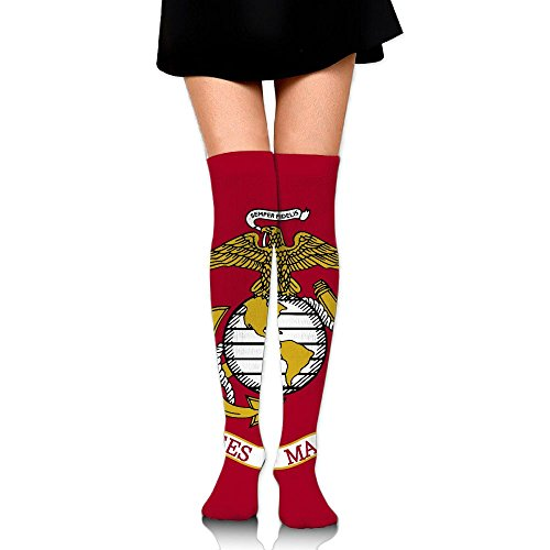 Anklet Soccer (RobotDayUpUP Flag Of The United States Marine Corps Womens Long Socks,cute Girls Skirt Stockings Knee Thigh Socks For Running Soccer Sports Dance Yoga Cycling Hiking Outdoor)