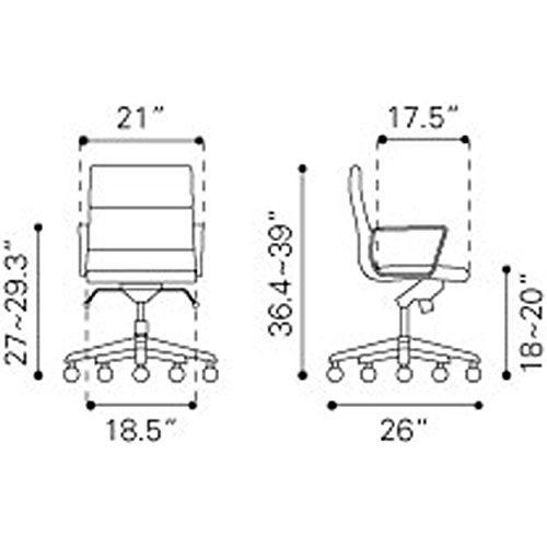 Zuo Engineer Low Back Office Chair Appliances Way