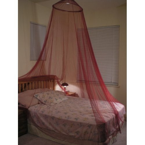 OctoRose ® Round Hoop Bed Canopy Netting Mosquito Net Fit Crib, Twin, Full, Queen, King (Burgundy) (Red Bed Canopy Netting)