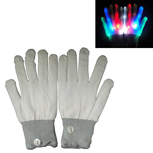 Luwint LED Colorful Flashing Lighting White Rave Gloves for Party, bar, Nightclub