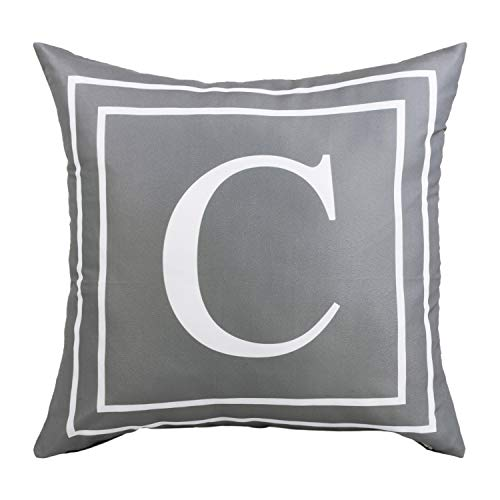 BLEUM CADE Gray Pillow Cover English Alphabet C Throw Pillow Case Modern Cushion Cover Square Pillowcase Decoration for Sofa Bed Chair Car