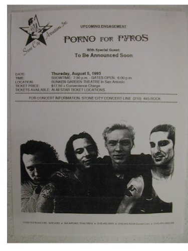 Porno For Pyros Handbill Poster Jane's Addiction 1993