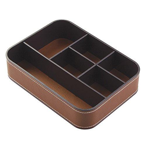 InterDesign Laredo Dresser Storage Organizer Tray for Fashion Jewelry, Watches, Eyeglasses - 6 Compartments, Brown/Dark Brown - Chrome Letter Tray