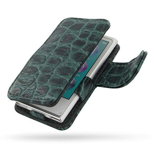 (PDair iPod nano 8 / iPod nano 7 Leather Folio Cover Skin (Green Crocodile Pattern), Genuine Leather Folio Magnetic Protective Case - Leather Book Case for iPod nano 8th / iPod nano 7th Generation)