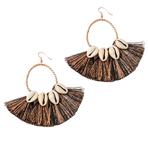 Handmade Earrings Dangling (Women Ladies Retro Bohemian Earrings Fringe Tassel Statement Earrings Beach Party Drop Hoop Earrings Jewelry (Black))