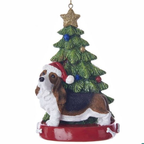 Hound Christmas Ornament Tree - Kurt Adler Bassett Hound With Christmas Tree Ornament
