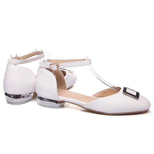 Tacon Zapatos de RAZAMAZA Mujer 46 Bajo Moda White Sandalias PaIx7q