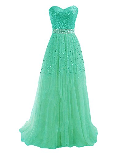 Vestiti Lunghi Paillettes con Donna Damigella Senza Eleganti Verde Abiti Spalline da Cerimonia 8qqUdw