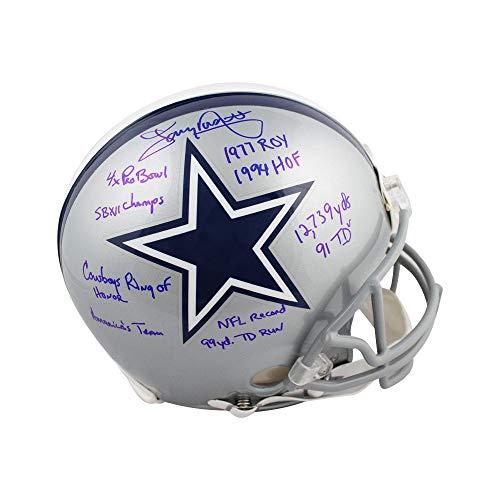 Tony Dorsett Autographed Cowboys Proline Full-Size Football Helmet JSA 9 Inscrip -