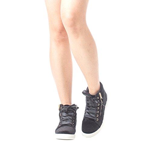 Soho Damesschoenen Met Kunstleer Gewatteerde Rits Hoge Sneakers Met Veters Zwart Fluweel