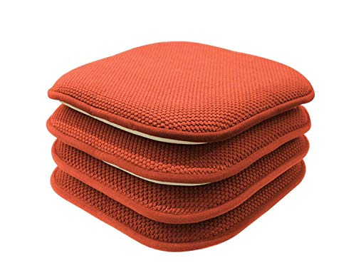 GoodGram 4 Pack Non Slip Ultra Soft Chenille Honeycomb Premium Comfort Memory Foam Chair Pads/Cushions – Assorted Colors (Pumpkin Spice)