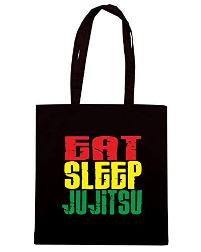 Speed Shirt Borsa Shopper Nera TAM0028 EAT SLEEP JU JITSU WHITE