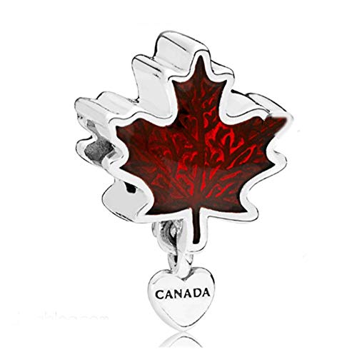 (Pukido Canada Flag Charm Beads 100% Real 925 Sterling Silver Maple Leaf Charm Beads Fit Original Bracelet DIY Jewelry 2018)