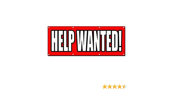 HELP WANTED RED OUTLINE Banner Sign 3 ft x 6 ft w//6 Grommets