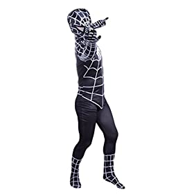- 41P8fo1K66L - Wraith of East Black Superhero Boys Halloween Costume Cosplay Full Bodysuit Zentai