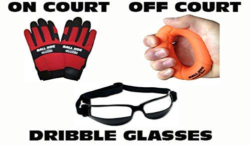 Ball Hog Gloves (Ball Handling) & Ball Hog Gloves Hand Grip Strengthener (Medium (Middle School))