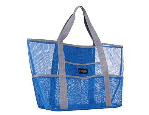 Holly LifePro Mesh Beach Bag Toy Tote Bag Large,Lightweight Market Grocery & Picnic Tote with Oversized Pockets,Inside Zippered Pocket,Carry All Organizer Bag Blue,Shoulder Bag for Gym Hiking Picnic ()
