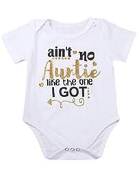 Newborn Baby Auntie Letter Print Short Sleeve Romper Infant Summer Clothing