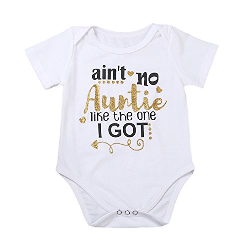 Newborn Baby Auntie Letter Print Short Sleeve Romper Infant Summer Clothing (0-3M, Ain't no auntie like the one i got)