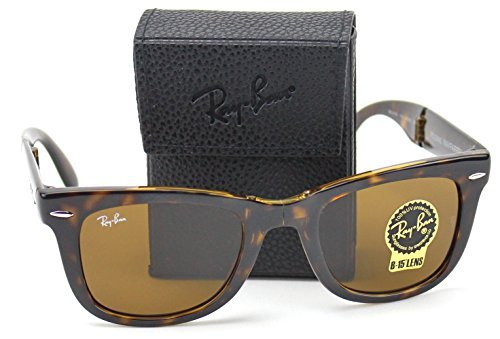 Ray-Ban RB4105 710 Wayfarer Folding Sunglasses Tortoise Frame / Brown B-15 Lens - Folding Wayfarers