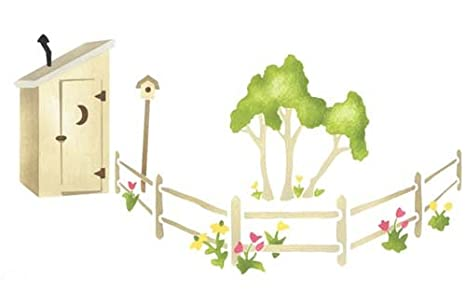 Outhouse Border with Fence Wall Stencil SKU #2690 by Designer ... on outhouse prints, outhouse posters, outhouse ornaments, outhouse signs, outhouse theme decor, outhouse kits, outhouse decorations, outhouse fabric, outhouse silhouette, outhouse foam, outhouse stamps,