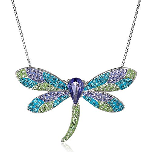 (Crystaluxe Dragonfly Pendant Necklace with Swarovski Crystals in Sterling Silver)