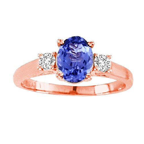 - 14kt Rose Gold Diamond and Tanzanite Ring 1.40ctTW
