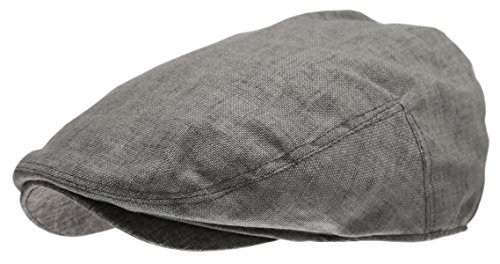Flat Cap Ivy Hat - Epoch hats Men's Linen Flat IVY Gatsby Summer newsboy Hats, Grey, L/XL