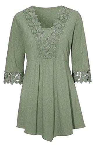 Coolred Rappezzatura Lunga Maglietta 1 Verde Mini Vestito 2 Di Merletto Pullover donne Partito Manica Del RRqwrxC5B