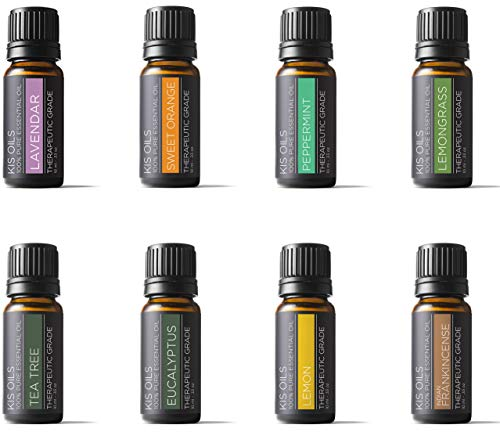 Aromatherapy Top 8 100% Pure Therapeutic Grade Basic Sampler essential oil gift set 8/10ml (lavender, sweet orange, peppermint, lemongrass, tea tree, eucalyptus, lemon, - Basic Oil Essential