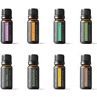 Aromatherapy Top 8 100% Pure Therapeutic Grade Basic Sampler Essential Oil Gift Set 8/10ml (Lavender, Sweet Orange, Peppermint, Lemongrass, Tea Tree, Eucalyptus, Lemon, Frankincense)