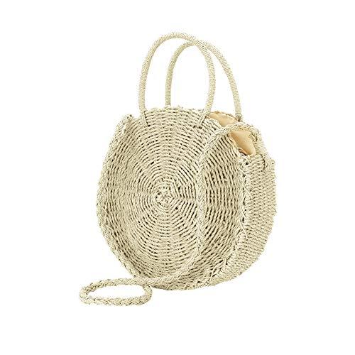 a donna borsette Borsa Surenhap tracolla rotonda da da tracolla donna estiva Pochette beige e Borsa a spiaggia wZ1qZXr8