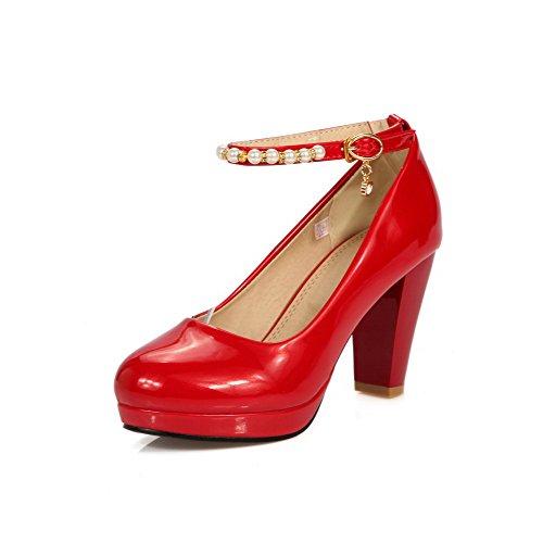AllhqFashion Mujeres Hebilla Puntera Redonda Cerrada Tacón ancho De salón con Colgantes Rojo