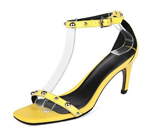 Verde Donna caviglia Yellow da 34 Huaishu 39 Toe alto Grigio con Giallo Open donna tacco Sandali Scarpe Rosa cinturino Shoes Sandali con alla HwfqdCw