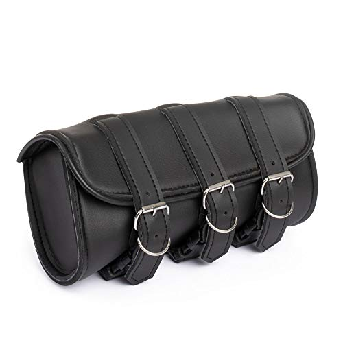 The Nekid Cow Brand Motorcycle Premium Synthetic Black Leather 3 Strap Tool Bag Pouch for Sissy Bar, Forks or Handlebars ()