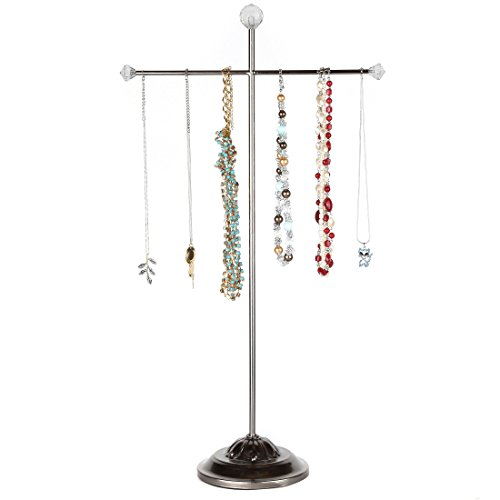 Price comparison product image Home-X - Metal Jewelry Tree Hanger & Organizer,  Tall Tabletop Necklace Holder & Jewelry Display Stand Stores Your Jewelry For Convenient Access,  Elegant Design Fits Any Decor