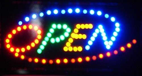 Business Retail Led Sign - 2xhome Open Sign High Visible Bright 4 Colors Big Chip Led Moving Flashing Animated Neon Sign Motion Light On Off Switch Button Chain Business Cafe Bar Pub Coffee Shop Store Wall Window Display
